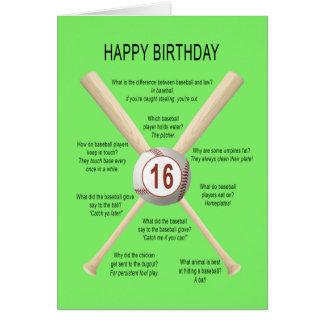 16th birthday baseball jokes card