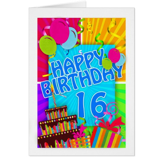 16th birthday card bright and colourful - cake