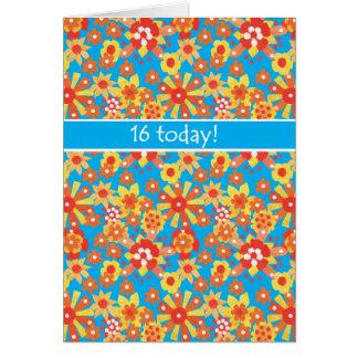 16th Birthday Card, Ditsy Orange Flowers Greeting Card