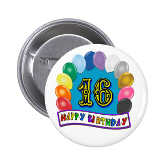 16th Birthday Gifts with Assorted Balloons Design Button