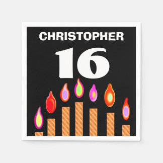 16th Birthday Gold Candles A01A Paper Serviettes