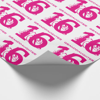 16th Birthday granddaughter, pink text on white. Wrapping Paper