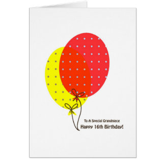 16th Birthday Grandniece Cards, Colourful Balloons Card