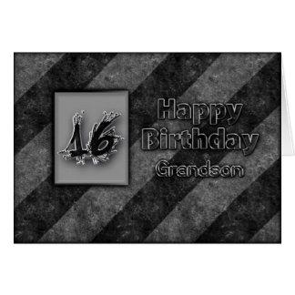 16th BIRTHDAY - GRANDSON - GRUNGE Greeting Card