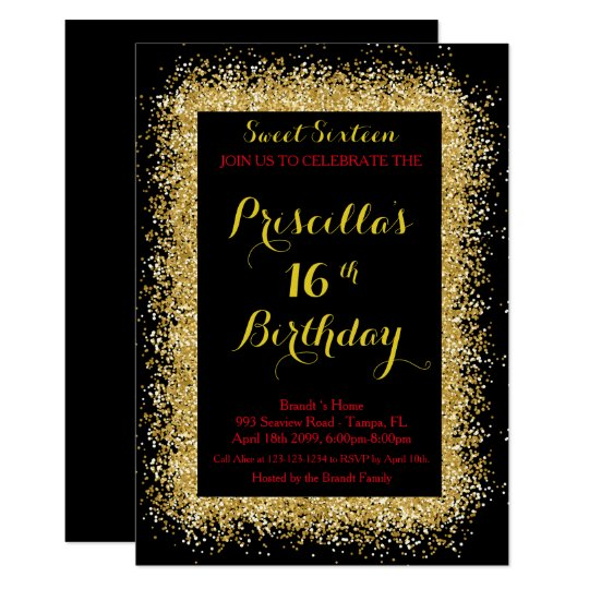 16th Birthday invitation, black, swirl, gold red Card