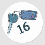 16th Birthday Keys Gifts Round Sticker