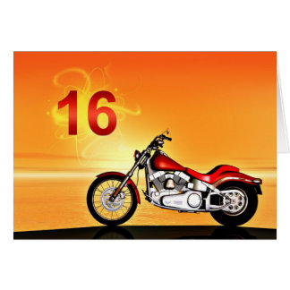 16th birthday Motorcycle sunset Greeting Card