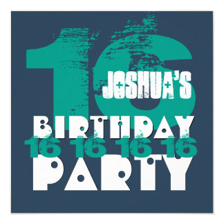 "16th Birthday Party 16 Year Old Grunge Z16A 5.25"" Square Invitation Card"