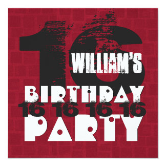"16th Birthday Party 16 Year Old Red Mosaic B16A 5.25"" Square Invitation Card"