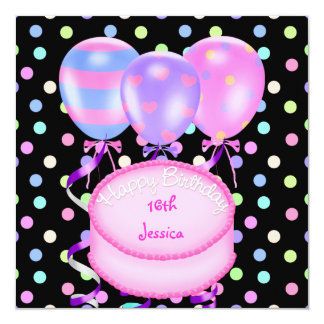 16th Birthday Party Balloons Cake Streamers 13 Cm X 13 Cm Square Invitation Card