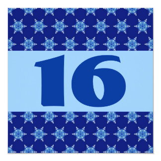 16th Birthday Party Festive Blue Stars W873 13 Cm X 13 Cm Square Invitation Card