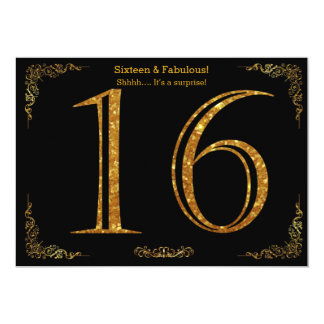 16th Birthday party,Gatsby styl,black gold glitter 13 Cm X 18 Cm Invitation Card