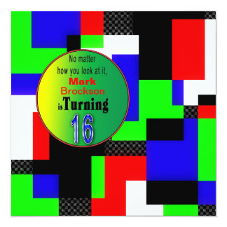 16th Birthday Party Invitation - Abstract/colorful