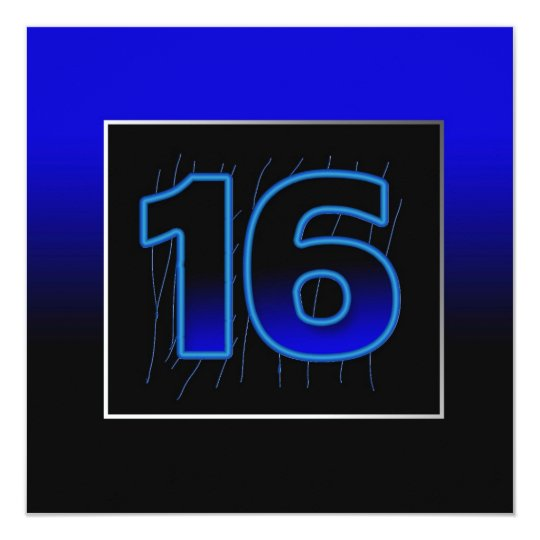16th Birthday Party Invitation - Blue/Black