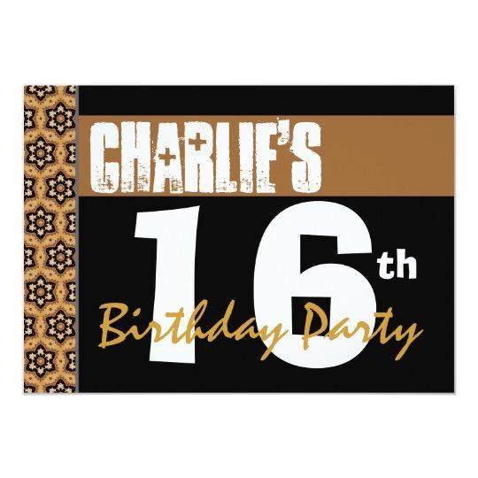 16th Birthday Party Modern Black Gold 2B6 Card