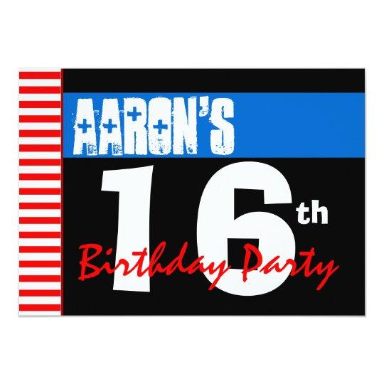 16th Birthday Party Modern Bright Blue Stars 2B2A Card