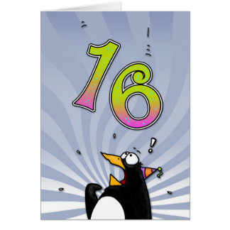 16th Birthday - Penguin Surprise Card