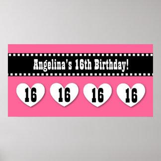 16th Birthday Pink Black Hearts Banner Custom V16H Poster
