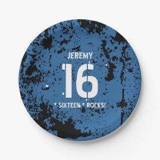 16th Birthday Sixteen Rocks BLUE Grunge F16Z 7 Inch Paper Plate