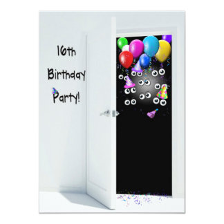 16th Birthday Surprise Party 11 Cm X 16 Cm Invitation Card