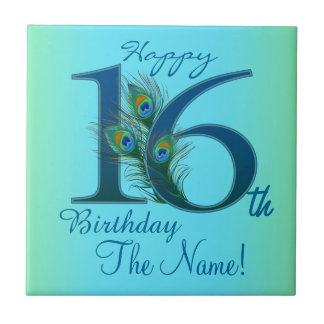 16th Birthday Template 100% personalized gift Tile