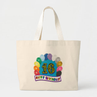 16th Birthday Tote Bag with Assorted Balloons