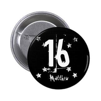 16th Birthday Trendy Grunge Letters Stars Z03 6 Cm Round Badge