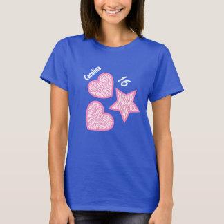 16th Birthday Zebra Star Hearts A07A BLUE T-Shirt