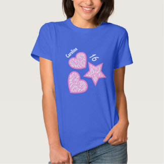 16th Birthday Zebra Star Hearts A07A BLUE T-shirts