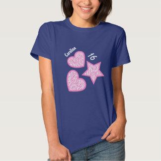 16th Birthday Zebra Star Hearts A07A BLUE T-shirts
