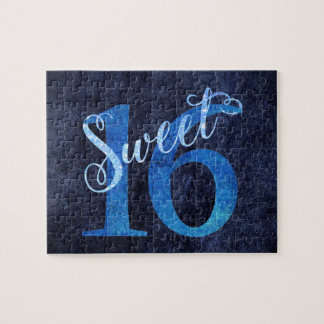 16th Blue | Sweet 16 Watercolor Turquoise Ombre | Jigsaw Puzzle