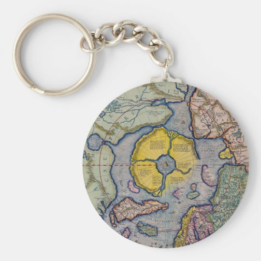 16th Century Mercator North Pole Map Basic Round Button Key Ring