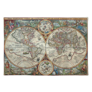 16th Century Vintage Map - Orbis Plancius 1594 Placemat
