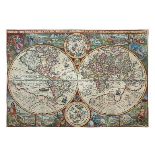 16th Century Vintage Map - Orbis Plancius 1594 Placemat