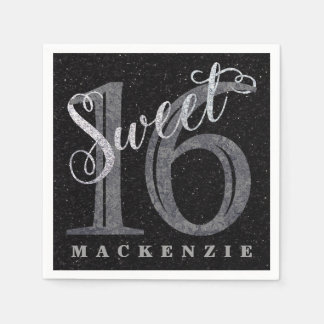 16th Charcoal Gray | Sweet 16 Silver Glitter | Disposable Serviette