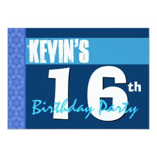 16th Modern Blue Teen Birthday Party Invitation