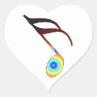 16th Music Note Heart Sticker