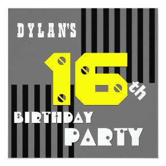 16th or Any Birthday Modern Stripes T16Z 13 Cm X 13 Cm Square Invitation Card