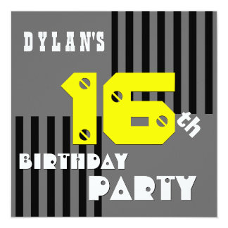 16th or Any Birthday Modern Stripes T16Z Card