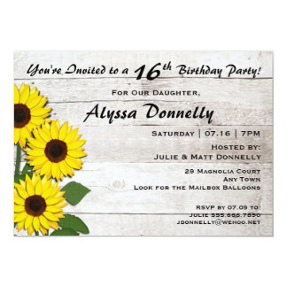 16th or Any Birthday Party Sunflower Invitations