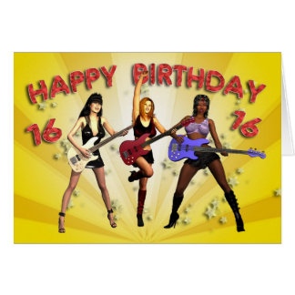 16th Rockin' birthday with a girl band Greeting Card