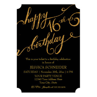 16th Sweet Sixteen Sixteenth Birthday Party Ticket Custom Invite