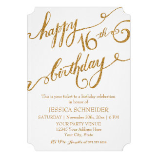 16th Sweet Sixteen Sixteenth Birthday Party Ticket Custom Invitations