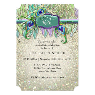 16th Sweet Sixteenth Birthday Party Ticket 5x7 Paper Invitation Card