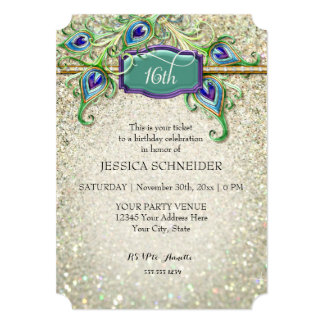 16th Sweet Sixteenth Birthday Peacock Feather 5x7 Paper Invitation Card