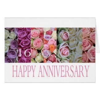 16th Wedding Anniversary Card pastel roses