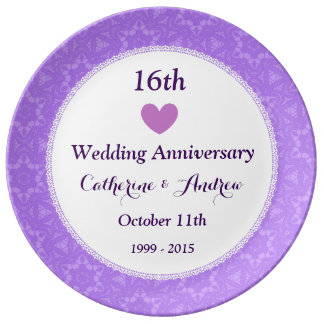16th Wedding Anniversary Purple Lace A16D Plate