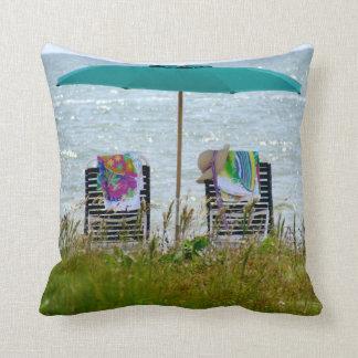 16x16 beach scene throw pillow. cushion