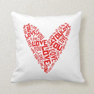 """16x16"""" Love You Heart Pillow Throw Cushion"""