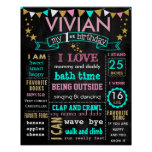 "16x20"" Birthday chalkboard sign personalised Poster"